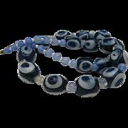 Powder Glass African Bulls Eye Trade Bead necklace