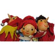 Three Adorable German Hand Puppets c1950's