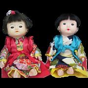 Pair Japanese Children Blue Eyes c1960 7 inches