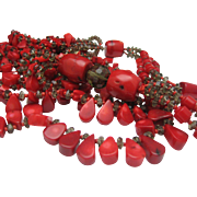 SALE Red Coral and Crystal Necklace Vintage London