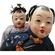 Chinese Composition and Cloth Doll with Baby