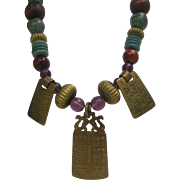 SALE Gicker Semi Precious Egyptian Style Necklace 1988