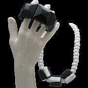 Mid Century Cube Lucite Necklace Bracelet Set