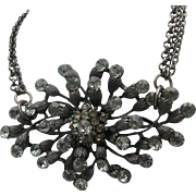 Japanned Smokey Rhinestone Floral Necklace