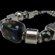Marbles Glass Chrome Mid Century Optik necklace