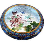 SOLD Chinese Cloisonne & Champleve Enamel Low Bowl on Wood Stand
