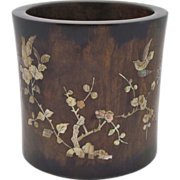 SOLD LARGE Chinese Rosewood and Mother of Pearl Inlaid Brush Pot