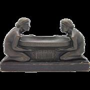 GUSTAV GURSCHNER Austrian Bronze Art Nouveau Centerpiece EXQUISITE