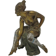 EROTIC Mechanical Cold Painted Vienna Bronze Figure of Woman on Chair