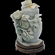 EXQUISITE Vintage Chinese Carved Jadeite Jade Lidded Vase
