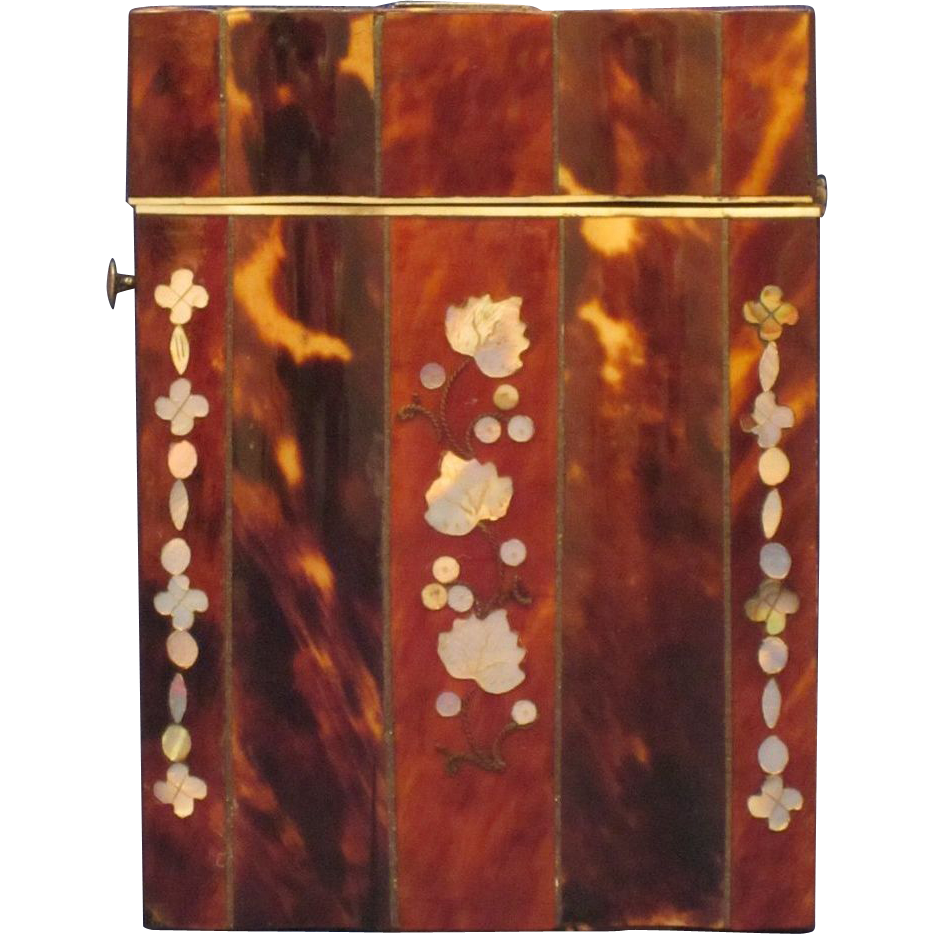 Antique English Inlaid Tortoiseshell and Mother of Pearl Card Case