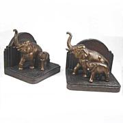 Vintage Art Deco Bronzed Elephant Bookends Nuart NY