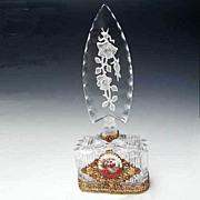 Art Deco Perfume Bottle - Ormolu Filigree - Intaglio Stopper - Czech - As Is