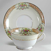 SOLD Noritake Occupied Japan Cup & Saucer Set - Rose China With Gold Trim - Vintage