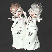 Christmas Angels Figurine and Candleholder Double 1950s Vintage