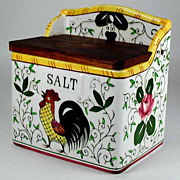 SOLD Rooster and Roses Salt Box Early Provincial PY Japan 1950s