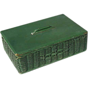Vintage Wicker & Wood Covered Box – Original Green Paint - Circa 1920s