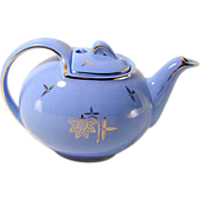 Hall China Teapot 6 Cup - Hook Cover Cadet Blue Gold Trim - Ca. 1940 Vintage