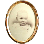 Antique Beaded Brass Photograph Frame - Oval Early 1900s - Baby Photo