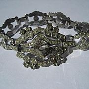 Unique Vintage Art Deco Sterling Silver Rhinestone Bracelet ~ Severe Bling!