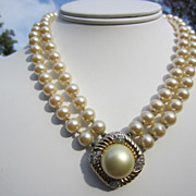 Vintage Double Strand Faux Pearl Necklace with Gold Tone Medallion with Rhinestones by Panetta