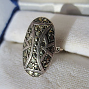 Vintage Marcasite Ring in Sterling and Gold ~ Art Deco Period