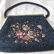 Vintage Beaded and Petite Point Floral 60's Purse with Blue Carnival Glass Beads ~ Oh So Pretty!