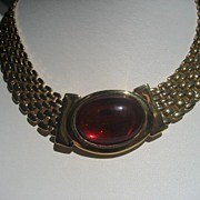 Vintage Napier Gold Toned Necklace with Huge Red Glass Cabochon