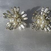 Vintage Boucher Faux Pearl and Rhinestone Earrings