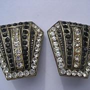 True Vintage Art Deco Flapper Rhinestone Earrings Black and White Wonderful