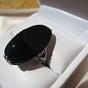 SOLD Huge Vintage Black Onyx Ring in Sterling Silver ~ Art Deco Period