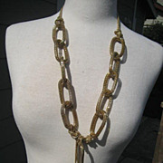 Vintage MOD 1960's Big Gold Toned Long Mesh Hoop Link Chain Necklace with Genuine Quartz Cryst