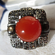 SOLD Shop Special! Vintage Natural Carnelian Black Star Sapphire and Marcasite Ring ~ Art Deco