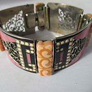 Fabulous Vintage Bakelite and Enamel Link Bracelet ~ Book Piece ~ Art Deco