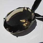 Enormous Vintage 103 Carat Smoky Topaz Pendant / Necklace / Brooch ~ Retro Period