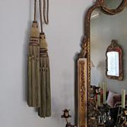 Enormous Antique Silk Curtain Tiebacks Tie-Backs French Silk ~ Circa 1860