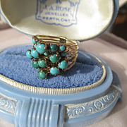 SALE PENDING Vintage 5 Band Persian Turquoise Ring in Rose Gold ~ Retro Period