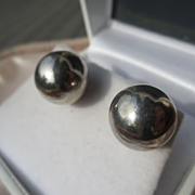 SALE Vintage Huge Sterling Silver Round Ball Earrings ~ Retro Period