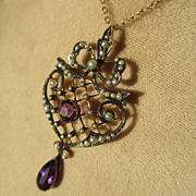 SOLD Antique Natural Pearl and Deep Purple Amethyst Gold Lavaliere ~ Convertible Pendant / Bro