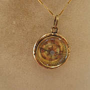 SALE Shop Special! Wonderful Antique 15K Gold and Jasper Compass ~ Necklace ~ Watch Fob