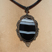 Antique Banded Agate and Silver Pendant / Necklace ~ Victorian Period