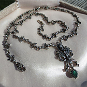 Antique Edwardian White Topaz and Green Emerald Colored Paste ~ Sterling Necklace