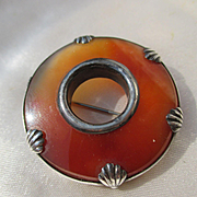 Antique Carnelian and Sterling Silver Brooch ~ Victorian Period