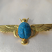 Vintage Egyptian Revival Scarab Brooch Brooch with Asp Snakes in 18K Gold