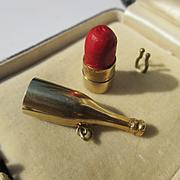 Super Rare Vintage Champagne Bottle / Lipstick 14K Gold Charm or Pendant ~ Fantastic!
