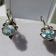 SALE PENDING Shop Special! Vintage Blue Topaz and pearl earrings ~ gold vermeil over Sterling