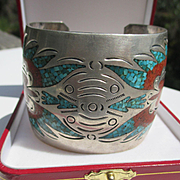 Super Wide Native American Cuff with Inlaid Coral and Turquoise ~ Sterling Silver ~ Retro Peri