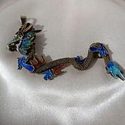 Wonderful Extra Large Vintage Chinese Dragon Enamel Pendant ~ Necklace ~ Retro Period