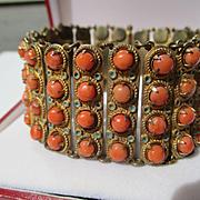 SALE PENDING Rare Antique Natural French Coral and Enamel Bracelet