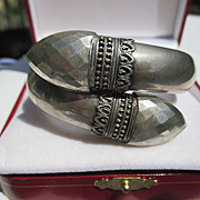 Really Unique Antique Double Headed Sterling Silver Snake Head Cross Over Bangle ~ Victorian P